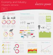 Economy and industry. Electric power. Industrial infographic template - stock illustration
