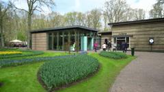 Juliana Pavilion Exterior, Keukenhof Gardens, Lisse, Netherlands 4K Stock Footage