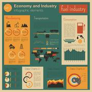 Economy and industry. Fuel industry. Industrial infographic template - stock illustration