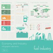 Economy and industry. Fuel industry. Industrial infographic template Piirros