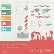 Economy and industry. Metallurgy industry. Industrial infographic template Stock Illustration