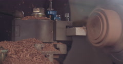 High speed processing of wood cylinder - stock footage