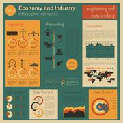 Economy and industry. Engineering and metalworking. Industrial infographic te - stock illustration