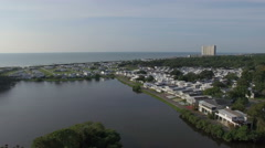 Aerial Flying Over Campground Along Myrtle Beach Stock Footage