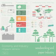 Economy and industry. Woodworking and paper industry. Industrial infographic  - stock illustration
