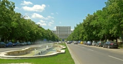 Union Square Fountain And House Of The People Or Parliament Palace Stock Footage