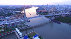 Aerial view of bhumiphol bridge in bangkok thailand Stock Footage