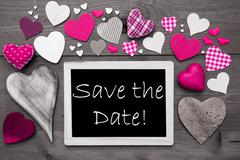 Chalkbord With Many Pink Hearts, Save The Date Stock Photos