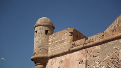 Zoom shot of sea wall at Essouara Morocco Stock Footage