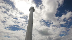 Lighthouse with blue sky,clouds.Malapascua Island Stock Footage