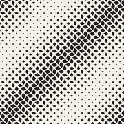 Vector Seamless Black And White Diagonal Rectangle Halftone Geometric Pattern - stock illustration