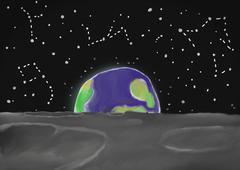 Painted background of rising earth, viewed from the Moon, with shining stars. Stock Illustration