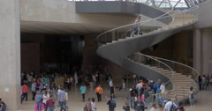 Underground lobby and Louvre entrance in the Pyramid Stock Footage