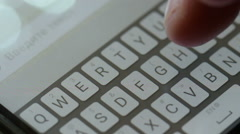 Typing message on mobile phone hello with a smile icon Stock Footage