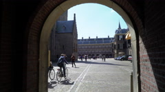 Binnenhof Parliament Entrance, The Hague Netherlands 4K Stock Footage