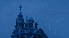 Russian Church In Snowstorm At Night - stock footage