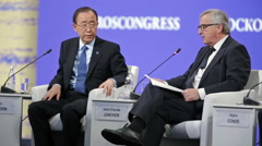 Ban Ki-moon and Jean-Claude Juncker - stock footage
