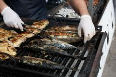 Fish mackerel and chicken tabaka grilled at bbq - stock photo