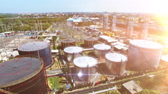 Gas and oil industrial from aerial view and sun shine - stock footage