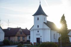 Church in the evening, sunrise, sunset, place of worship Stock Photos