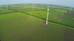 Aerial view of industrial park with Wind turbines for renewable green energy Stock Footage