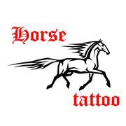 Galloping arabian horse sketch drawing - stock illustration
