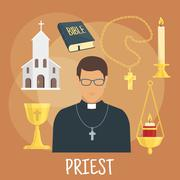 Catholic priest with religious symbols, flat style Stock Illustration