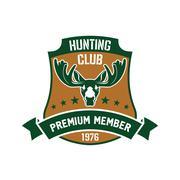 Hunting club membership badge with mature elk - stock illustration