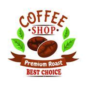 Coffee beans of brazilian arabica badge design Stock Illustration