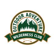 Outdoor adventure badge with mountain landscape Stock Illustration