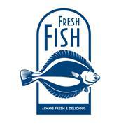 Fresh flounder retro symbol for fish market design - stock illustration