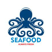 Blue pacific octopus icon for seafood menu design - stock illustration