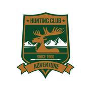 Rocky mountain elk badge for hunting design Stock Illustration