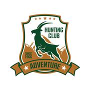 Hunting badge for sporting club design with goat Stock Illustration
