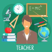 Teacher in classroom with school supplies symbol - stock illustration