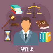 Lawyer profession flat icon with justice symbols - stock illustration