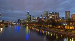 Melbourne Cityscape Sunset Motion Timelapse (Hyperlapse) Arkistovideo