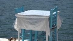 4K Lefkada, Greece, Restaurant View on Seashore in Port, Tavern Table on Seaside Stock Footage