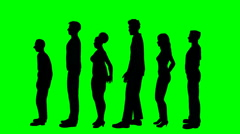 People waiting in line on a green screen - stock footage