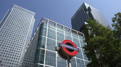 4K Canary Wharf, London, Office Buildings in Financial District Underground Sign Stock Footage