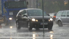 Cars and Trucks Goes by a Wet Roads Stock Footage