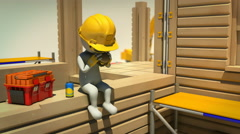 3d animation of construction worker on meal break - stock footage