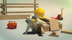 3d animation of construction worker cutting wooden plank with handsaw - stock footage