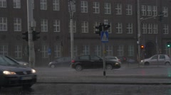 Festival of High Temperatures in Wroclaw Cityscape in Rainy Day Cars Are Driven Stock Footage