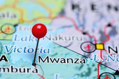 Mwanza pinned on a map of Tanzania - stock photo