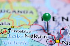 Nakuru pinned on a map of Kenya - stock photo