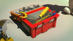 3d animation of construction workers taking tools from toolbox Stock Footage