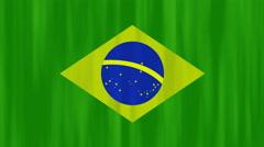 Brazil  flag fabric background, UHD 4k 3840x2160. Stock Footage