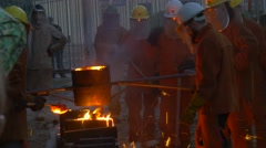 Festival of High Temperatures in Wroclaw Poland Workers in Protective Screens Stock Footage
