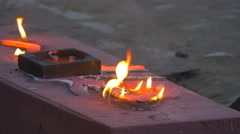Metal Poured Over the Mold is Burning Flame Tongues People Workers Walk Around Stock Footage